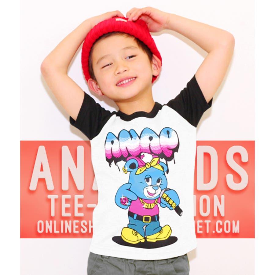 イメージ通りのデザイン ANAP HIPHOPナップくん・ラグランTシャツ Tシャツ   キッズ  ジュニア  女の子  男の子  トップス 五官