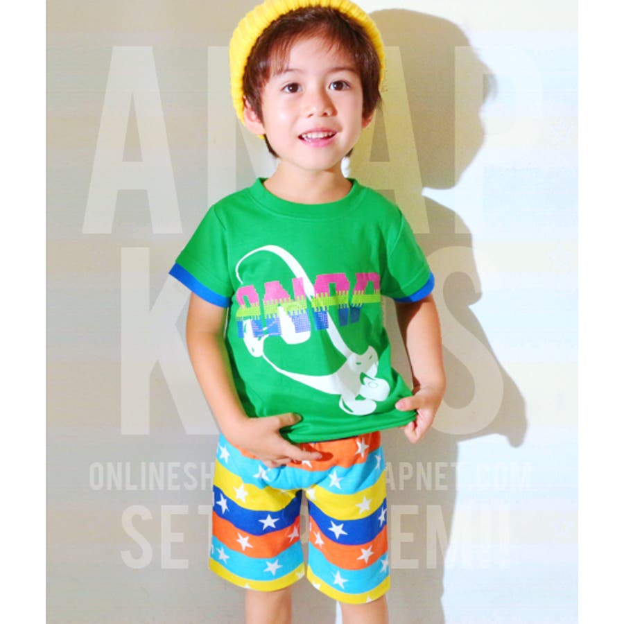 すごくおすすめ!! ANAP スケボーTシャツ×カラフルボーダーパンツセット ショートパンツ   キッズ  ジュニア  女の子  男の子  トップス 番外