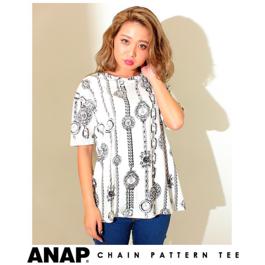 普通によい〇 ANAP チェーン柄BIGサイズTシャツ Tシャツ  レディース 敬遠