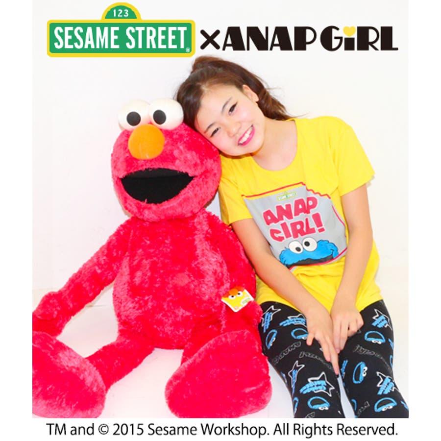 想像以上♪ ANAP セサミストリートコラボクッキーモンスターTシャツ Tシャツ   キッズ  ジュニア  女の子   トップス 機転