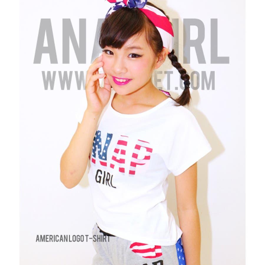 良い感じ! ANAP アメリカンロゴドルマントップス Tシャツ   キッズ  ジュニア  女の子   トップス 臥位