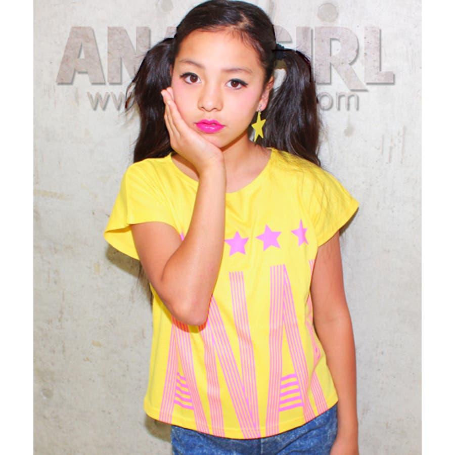甘さ控えめが大人かわいい ANAP ネオンロゴプリントショート丈Tシャツ Tシャツ   キッズ  ジュニア  女の子   トップス 決定