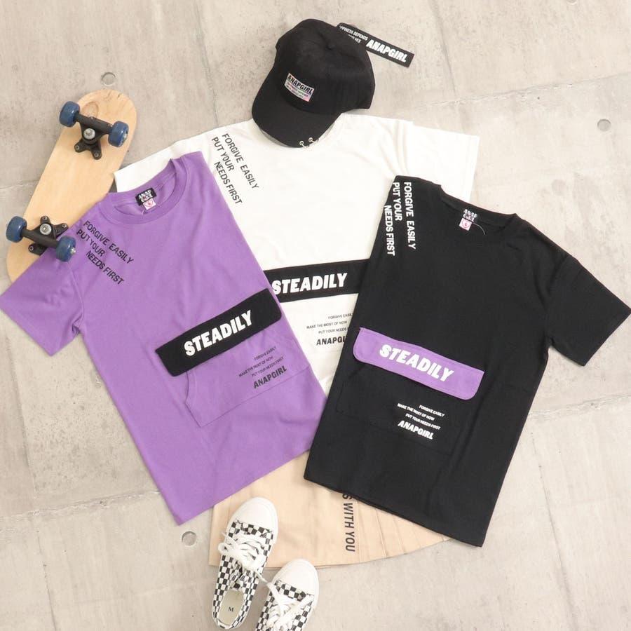 フラップポケット付チュニック 女の子 ガール ANAP GiRL アナップガール トップス Tシャツ 秋冬 紫 黒 白 S/M 5