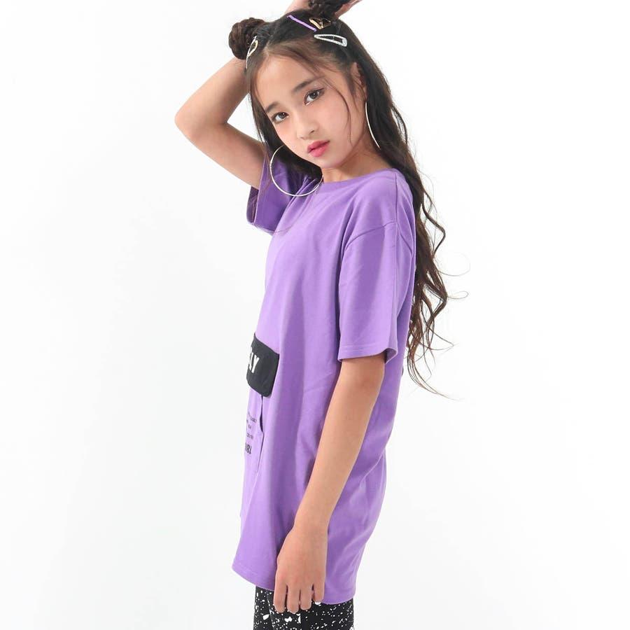 フラップポケット付チュニック 女の子 ガール ANAP GiRL アナップガール トップス Tシャツ 秋冬 紫 黒 白 S/M 2