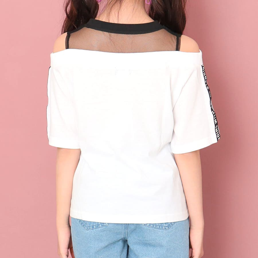 チュール切替肩開きトップス 女の子 ガール ANAP GiRL アナップガール トップス Tシャツ 秋冬 肌 白 紫 S/M 5