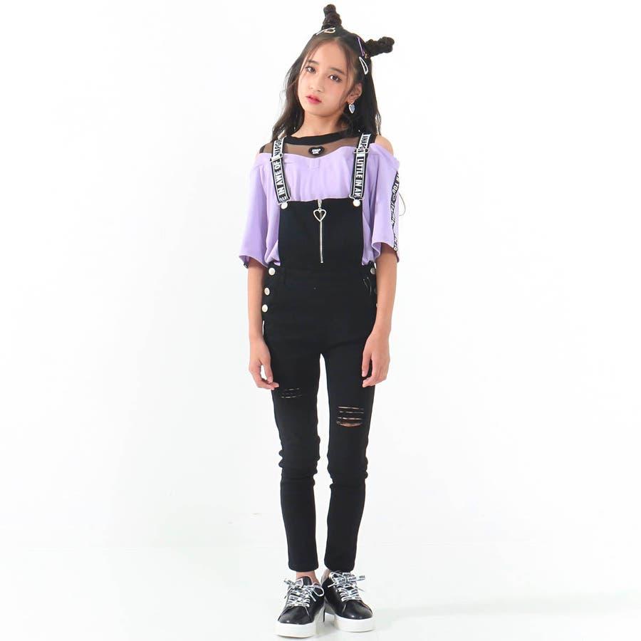 チュール切替肩開きトップス 女の子 ガール ANAP GiRL アナップガール トップス Tシャツ 秋冬 肌 白 紫 S/M 7