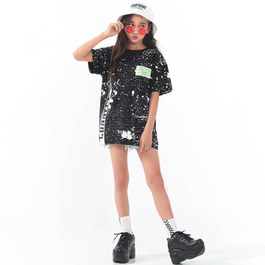 ZIPスリット入りペイントチュニック 女の子 ガール ANAP GiRL アナップガール トップス Tシャツ チュニック 秋冬 黒白S/M 5