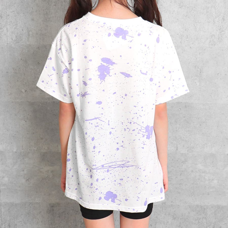 ZIPスリット入りペイントチュニック 女の子 ガール ANAP GiRL アナップガール トップス Tシャツ チュニック 秋冬 黒白S/M 8