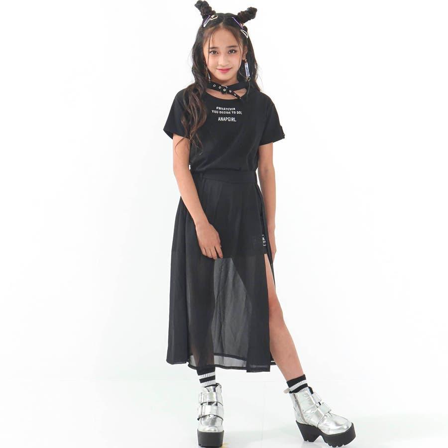 チョーカー見えトップス 女の子 ガール ANAP GiRL アナップガール トップス Tシャツ 秋冬 黒 白 S/M 4