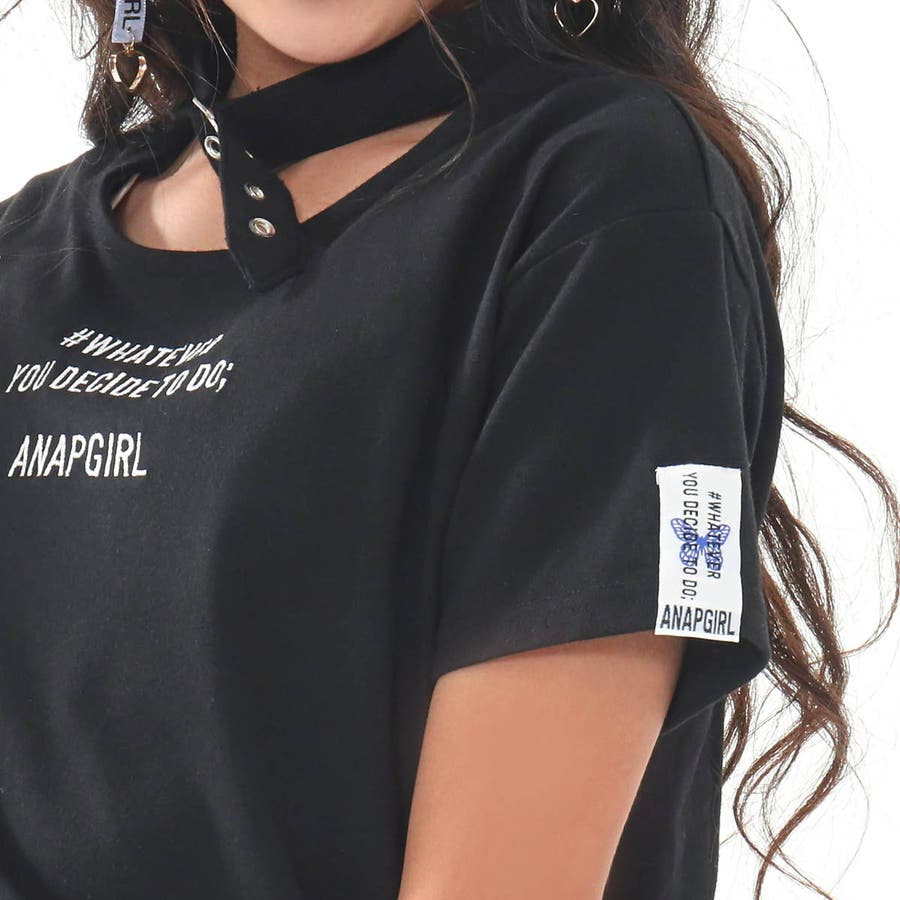 チョーカー見えトップス 女の子 ガール ANAP GiRL アナップガール トップス Tシャツ 秋冬 黒 白 S/M 7
