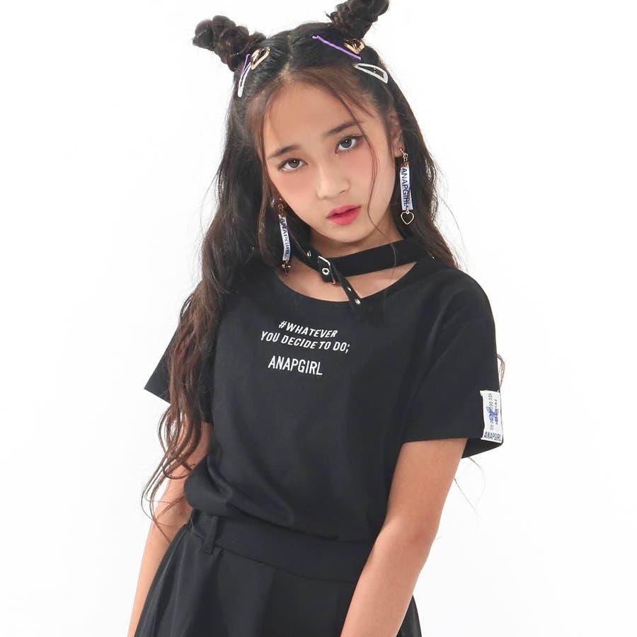 チョーカー見えトップス 女の子 ガール ANAP GiRL アナップガール トップス Tシャツ 秋冬 黒 白 S/M 21