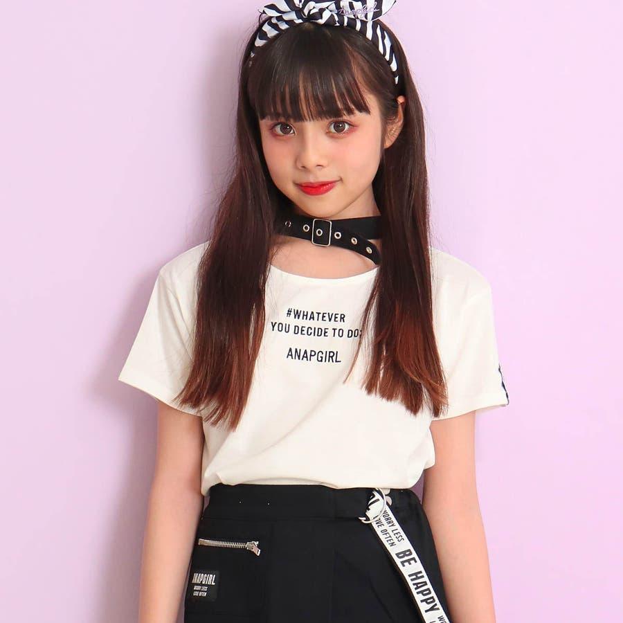 チョーカー見えトップス 女の子 ガール ANAP GiRL アナップガール トップス Tシャツ 秋冬 黒 白 S/M 16