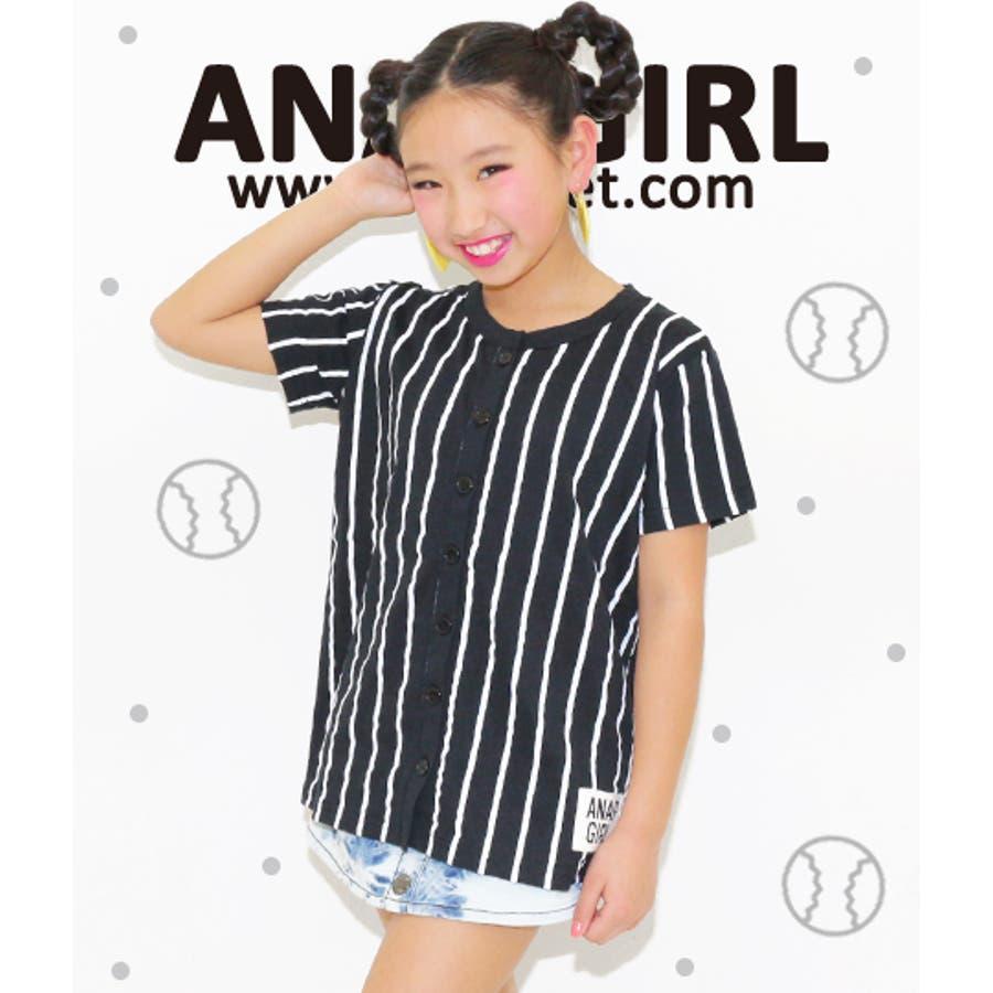 値段もお手頃 ANAP BASEBALL風ロゴシャツ シャツ ブラウス   キッズ  ジュニア  女の子   トップス 喜楽