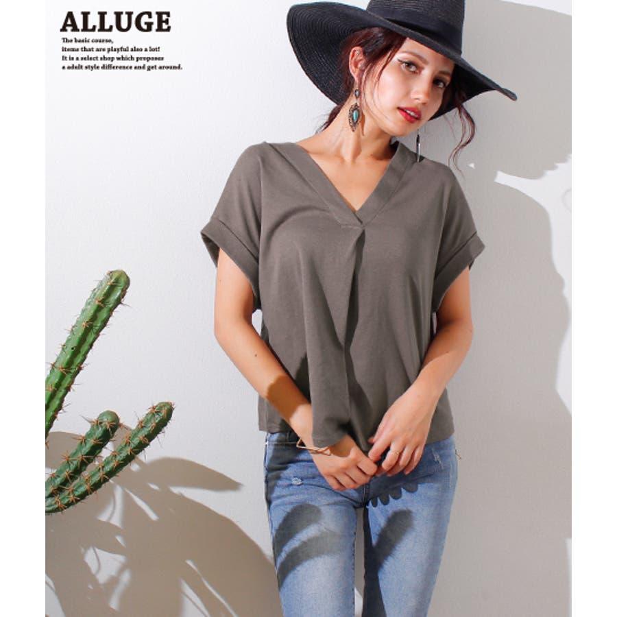 01acb4756f9d8 VネックタックドルマンTシャツ【アナップ アルージュ Alluge レディース ...