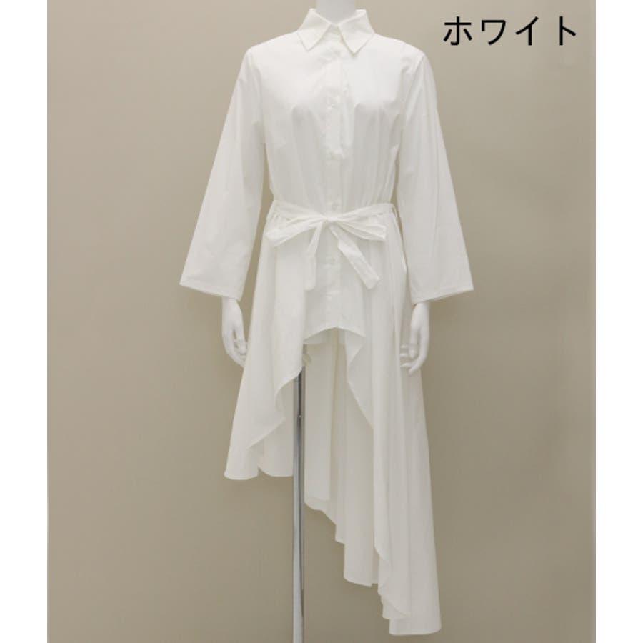 アシンメトリーウエストリボン付きロングシャツ 3