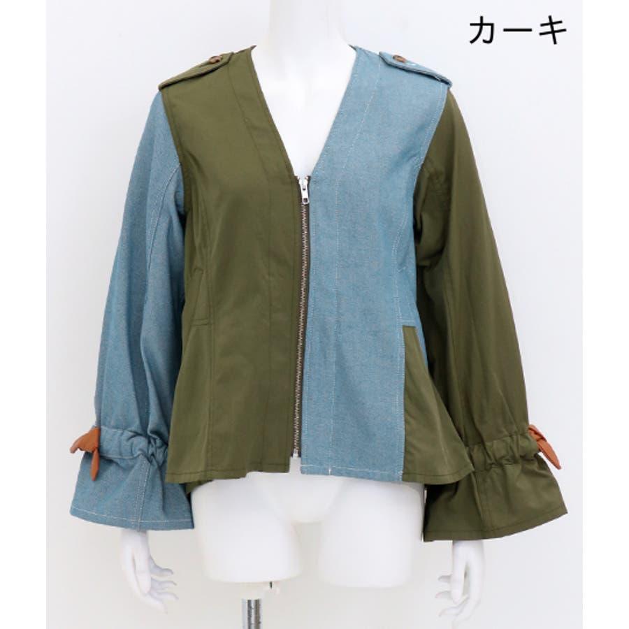 デニム×チノ風ペプラムジャケット 2