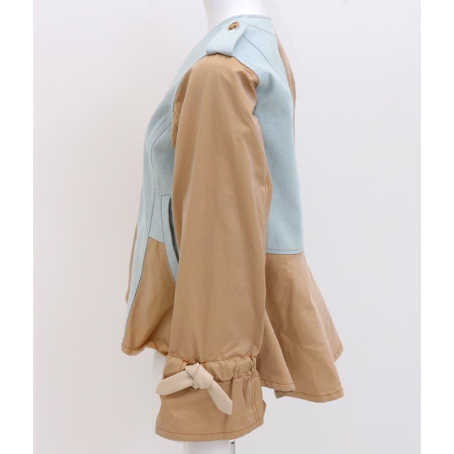 デニム×チノ風ペプラムジャケット 10