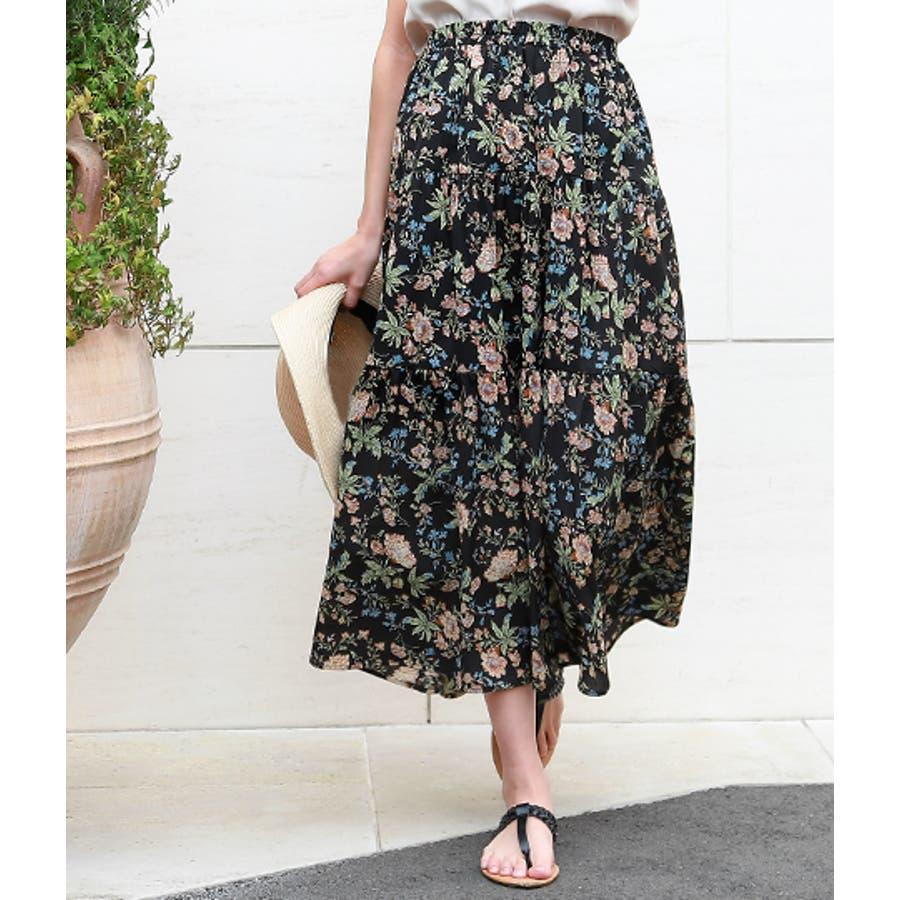 花柄ティアードスカート 4