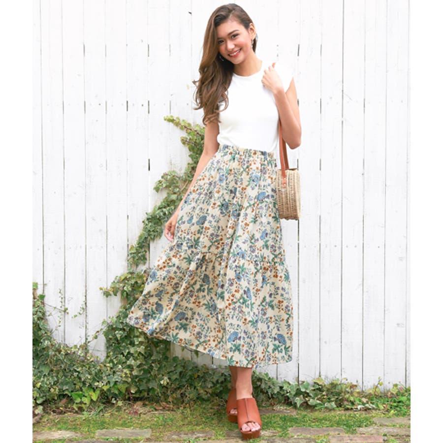 花柄ティアードスカート 5