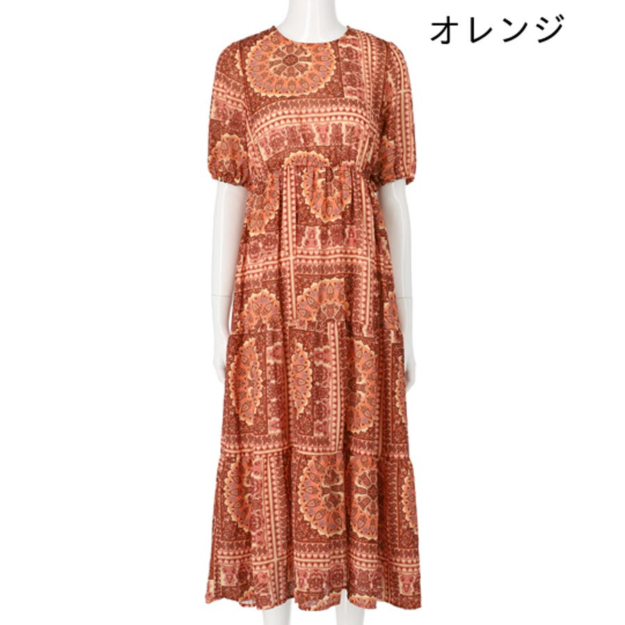 ペイズリー柄半袖マキシワンピース / CHILLE / 557-4960 2