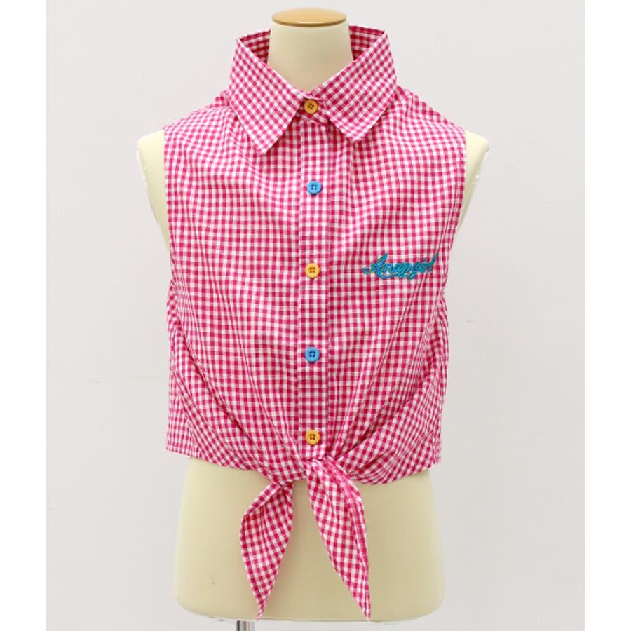 前縛りボタン配色チェックシャツ 10
