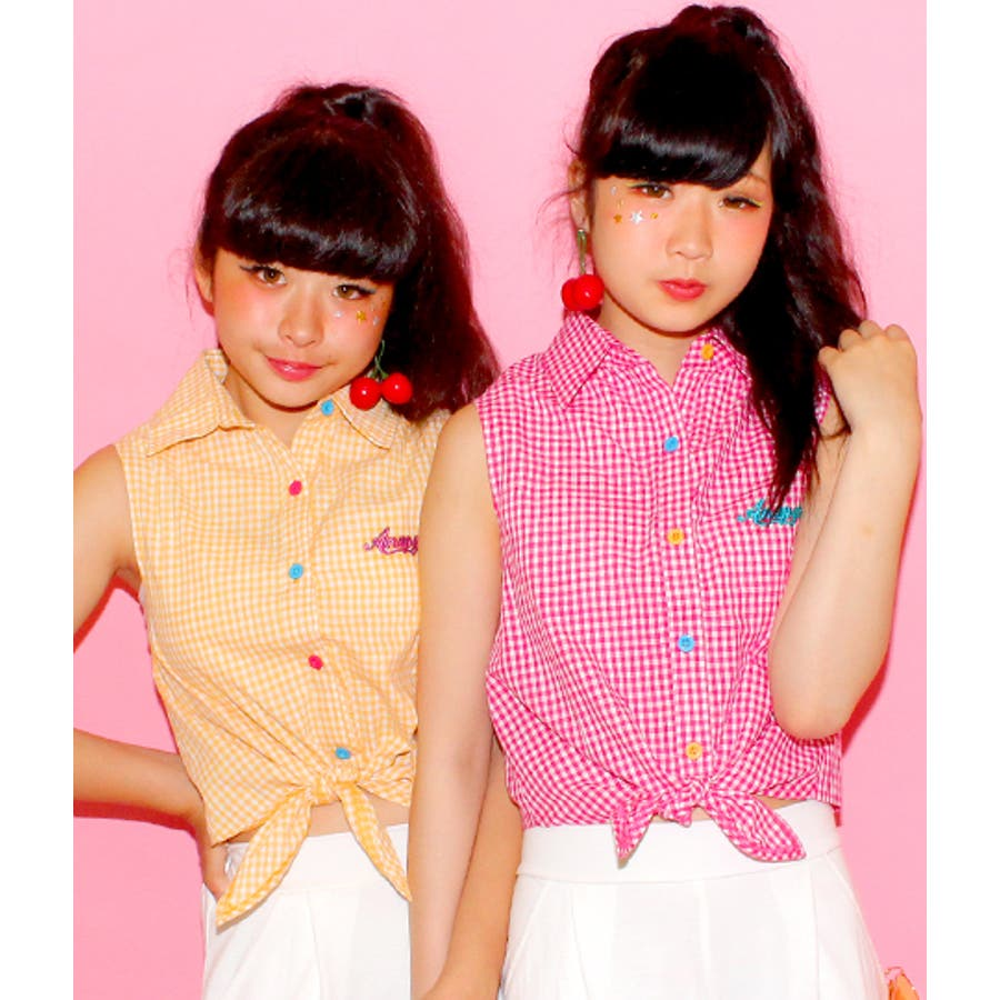 前縛りボタン配色チェックシャツ 7