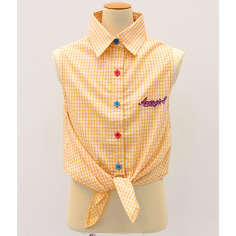 前縛りボタン配色チェックシャツ 9