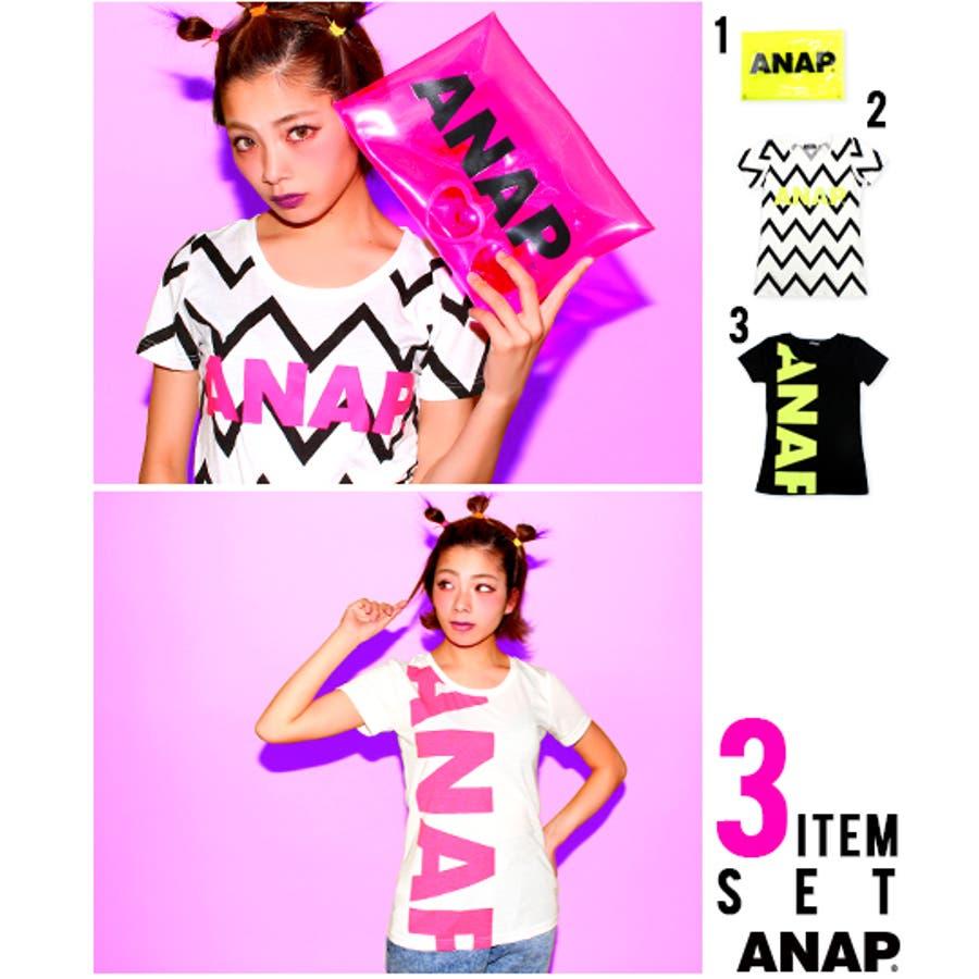 普通だけど素敵。 ANAP 『ANAP』ロゴTシャツ+クリアクラッチバッグ・3点SET Tシャツ  クラッチバッグ  レディース 天然