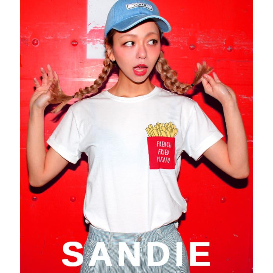 可愛い Sandie anap ポテトポケットTシャツ 横溢