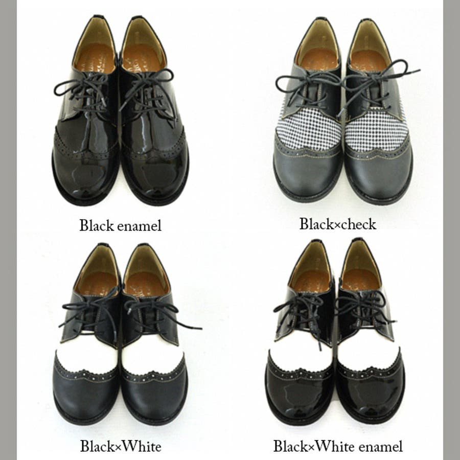 ウィングチップオックスフォードレースアップフラットシューズ(レディース シューズ 靴 ぺたんこ ホワイト ブラック シンプル S
