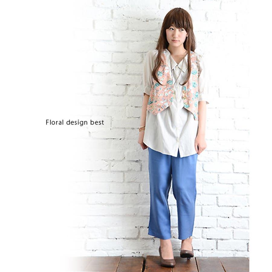 【anpere+A】花柄ベスト○(レディース ファッション おしゃれ かわいい 可愛い 20