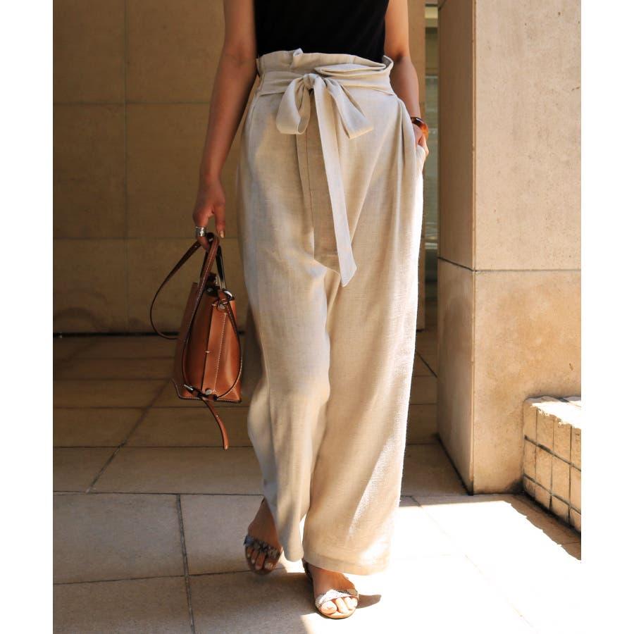 【I-11】リネンブレンド カシュクール ラップ パンツ デザインパンツ リボン サイドポケット レディース M/Lサイズ 春 夏 45
