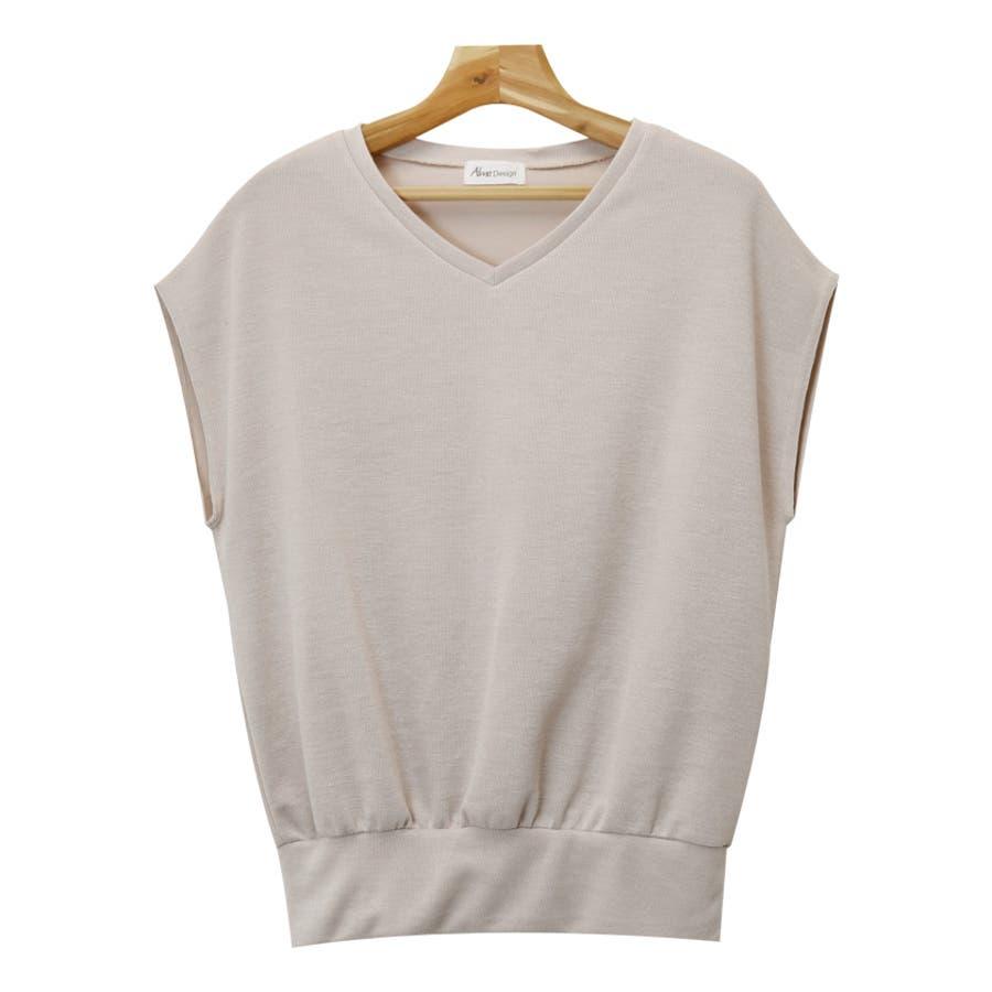 【L-9】フレンチスリーブ Vネック ニット カットソー レディース Tシャツ 半袖 トップス 5