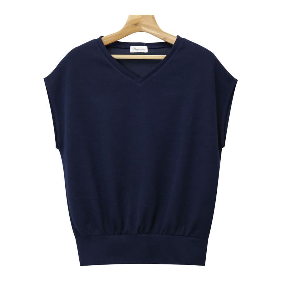 【L-9】フレンチスリーブ Vネック ニット カットソー レディース Tシャツ 半袖 トップス 7