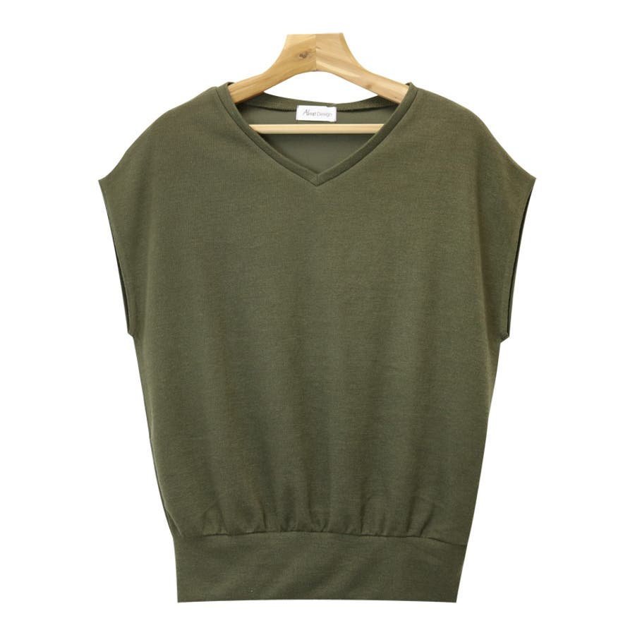 【L-9】フレンチスリーブ Vネック ニット カットソー レディース Tシャツ 半袖 トップス 6