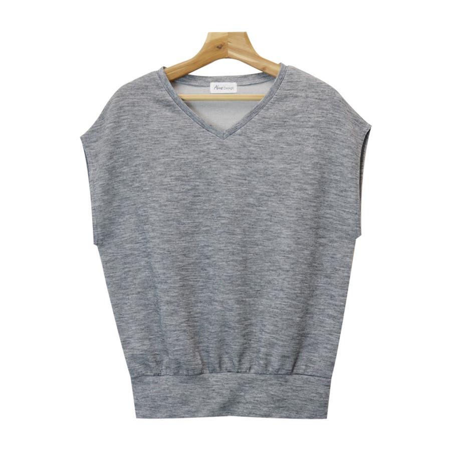 【L-9】フレンチスリーブ Vネック ニット カットソー レディース Tシャツ 半袖 トップス 3