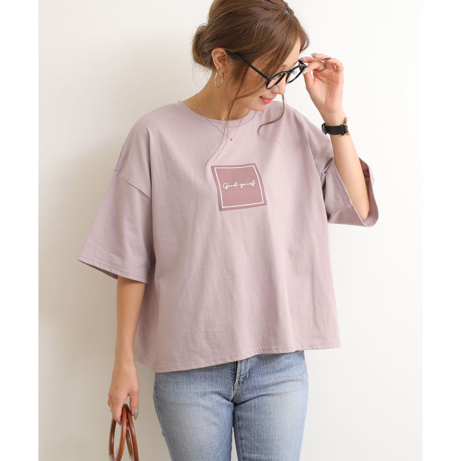 【W-5】ロゴ 刺繍 オーバーサイズ 5分袖 Tシャツ レディース コットン混 カットソー ジャスト丈 春 夏 80