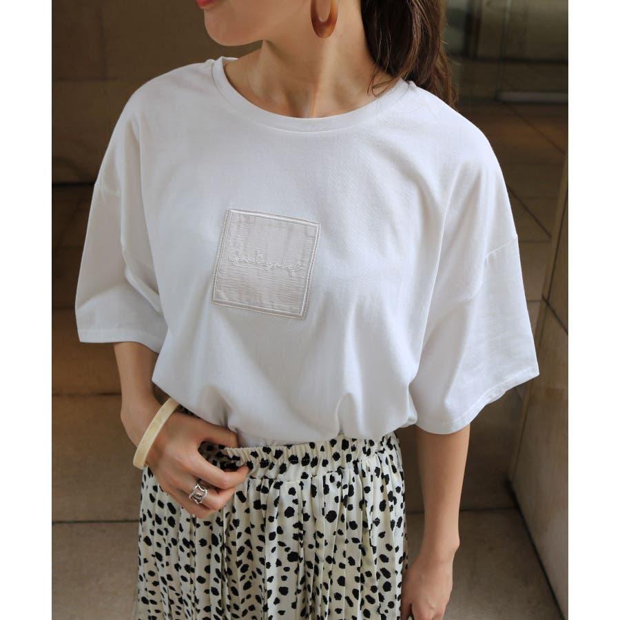 【W-5】ロゴ 刺繍 オーバーサイズ 5分袖 Tシャツ レディース コットン混 カットソー ジャスト丈 春 夏 17