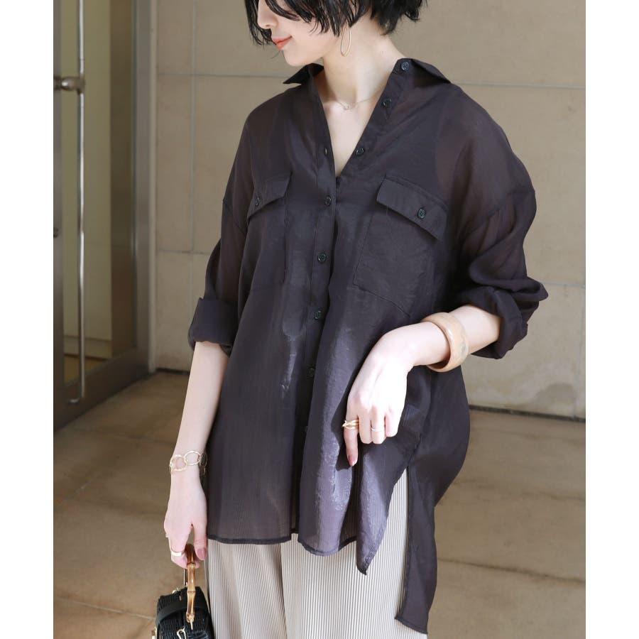 オーバーサイズ 長袖 シアーシャツ 21