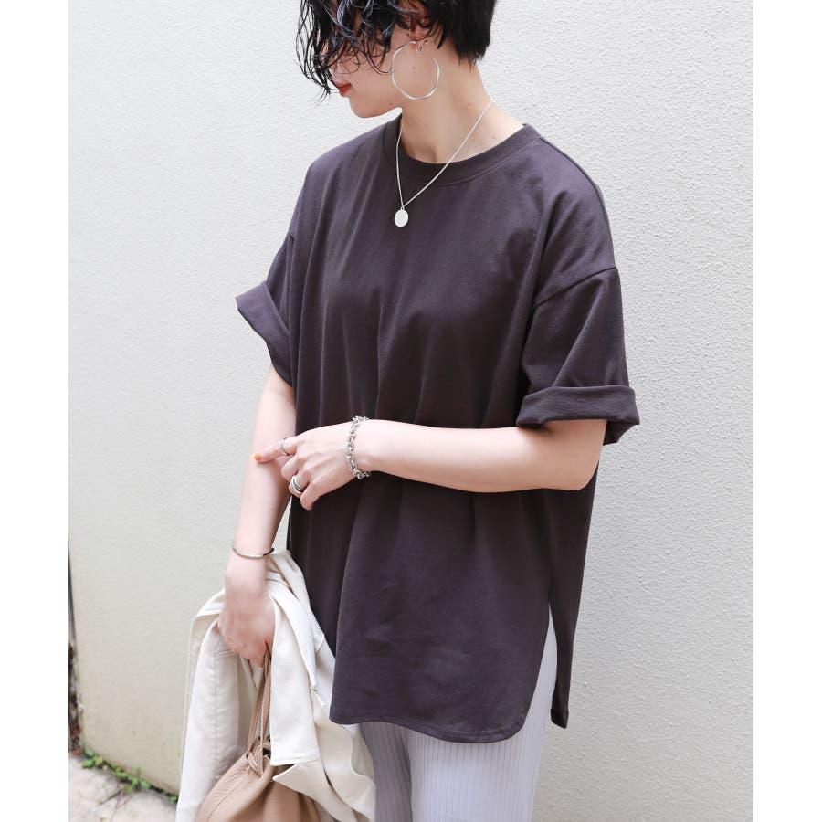 【A-3】コットン天竺 ラウンドヘム オーバーサイズ Tシャツ レディース ドロップショルダー サイドスリット 春 夏 26