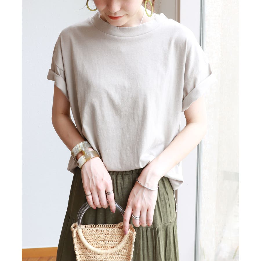 【B-1】コットン モックネック 半袖 Tシャツ レディース 日焼け対策 春 夏 46