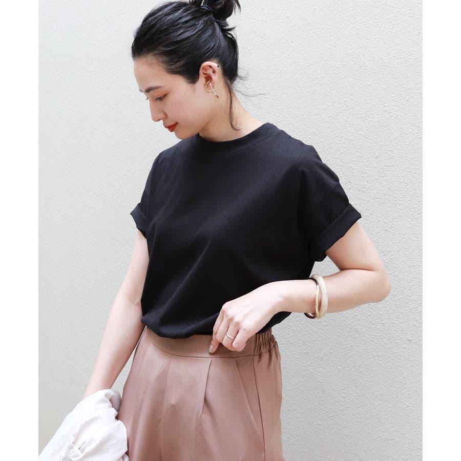 【B-1】コットン モックネック 半袖 Tシャツ レディース 日焼け対策 春 夏 21