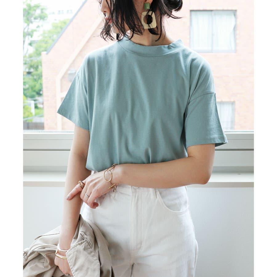 【B-1】コットン モックネック 半袖 Tシャツ レディース 日焼け対策 春 夏 66