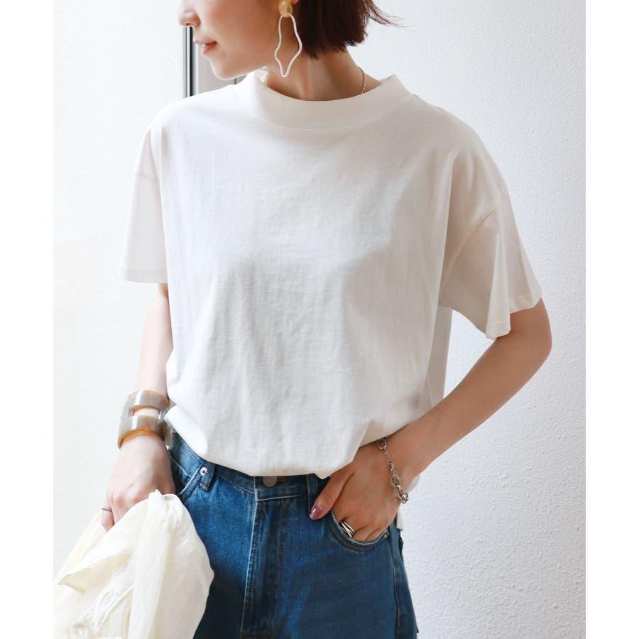 【B-1】コットン モックネック 半袖 Tシャツ レディース 日焼け対策 春 夏 18