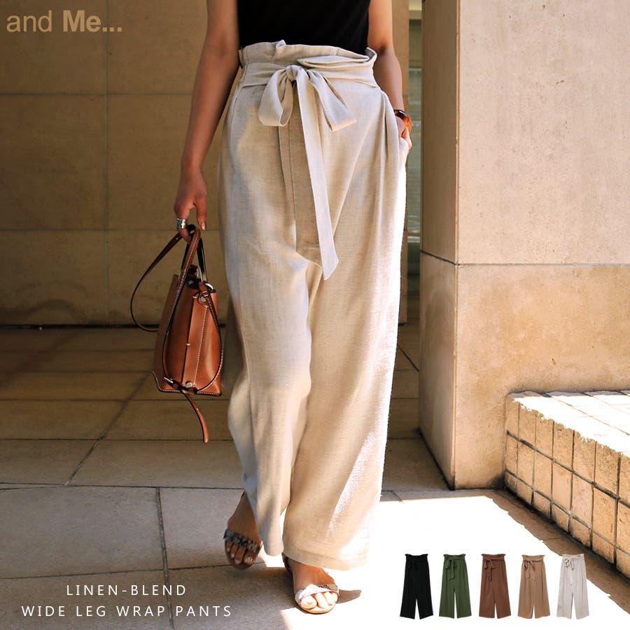 【I-11】リネンブレンド カシュクール ラップ パンツ デザインパンツ リボン サイドポケット レディース M/Lサイズ 春 夏 1