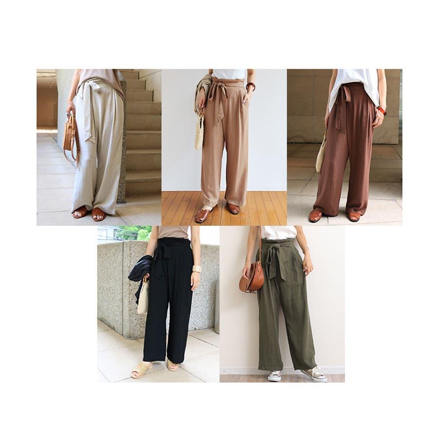 【I-11】リネンブレンド カシュクール ラップ パンツ デザインパンツ リボン サイドポケット レディース M/Lサイズ 春 夏 4