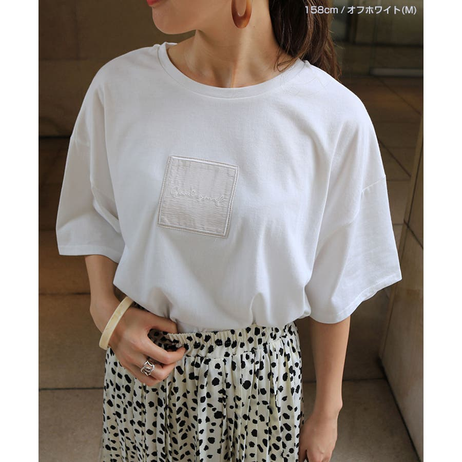 【W-5】ロゴ 刺繍 オーバーサイズ 5分袖 Tシャツ レディース コットン混 カットソー ジャスト丈 春 夏 3