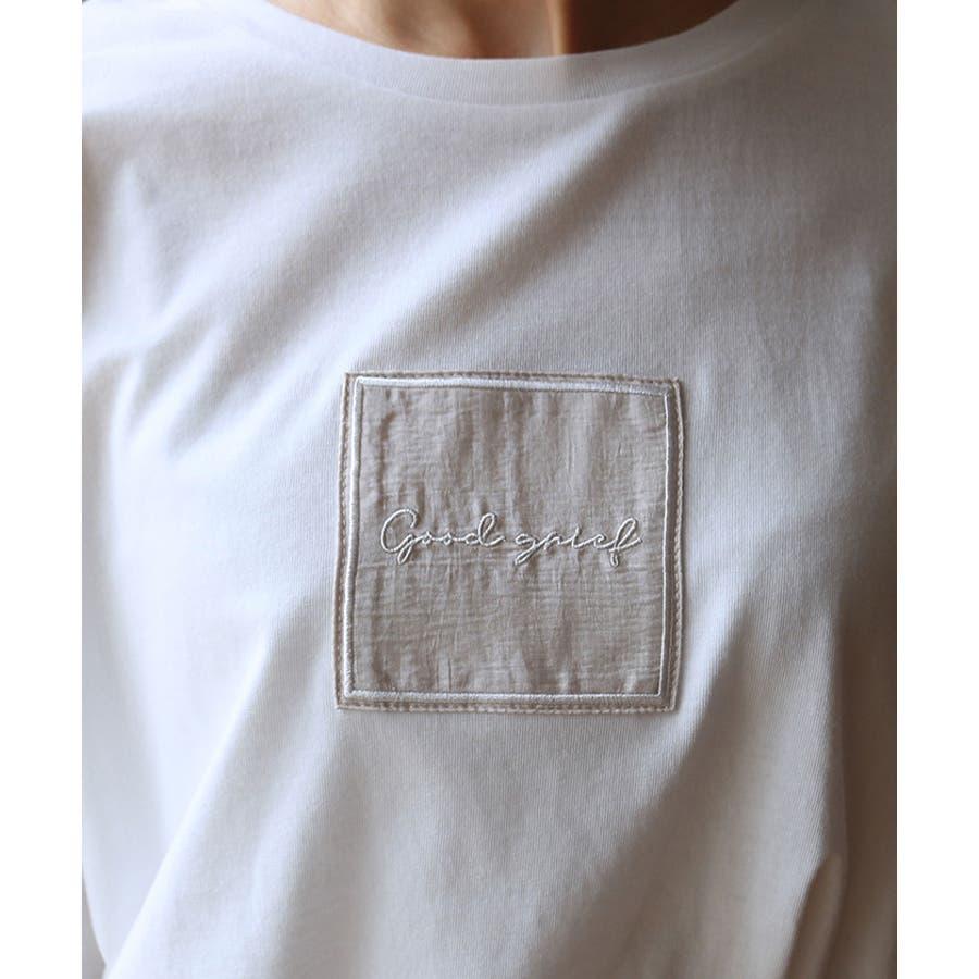 【W-5】ロゴ 刺繍 オーバーサイズ 5分袖 Tシャツ レディース コットン混 カットソー ジャスト丈 春 夏 4
