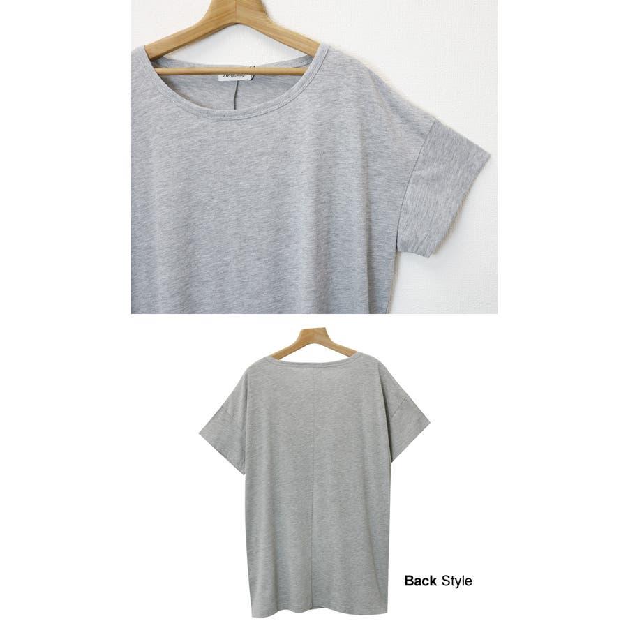 【G-13】Tシャツ レディース 半袖 ビッグT ゆったり ロング丈 チュニック Uネック トップス 無地 4