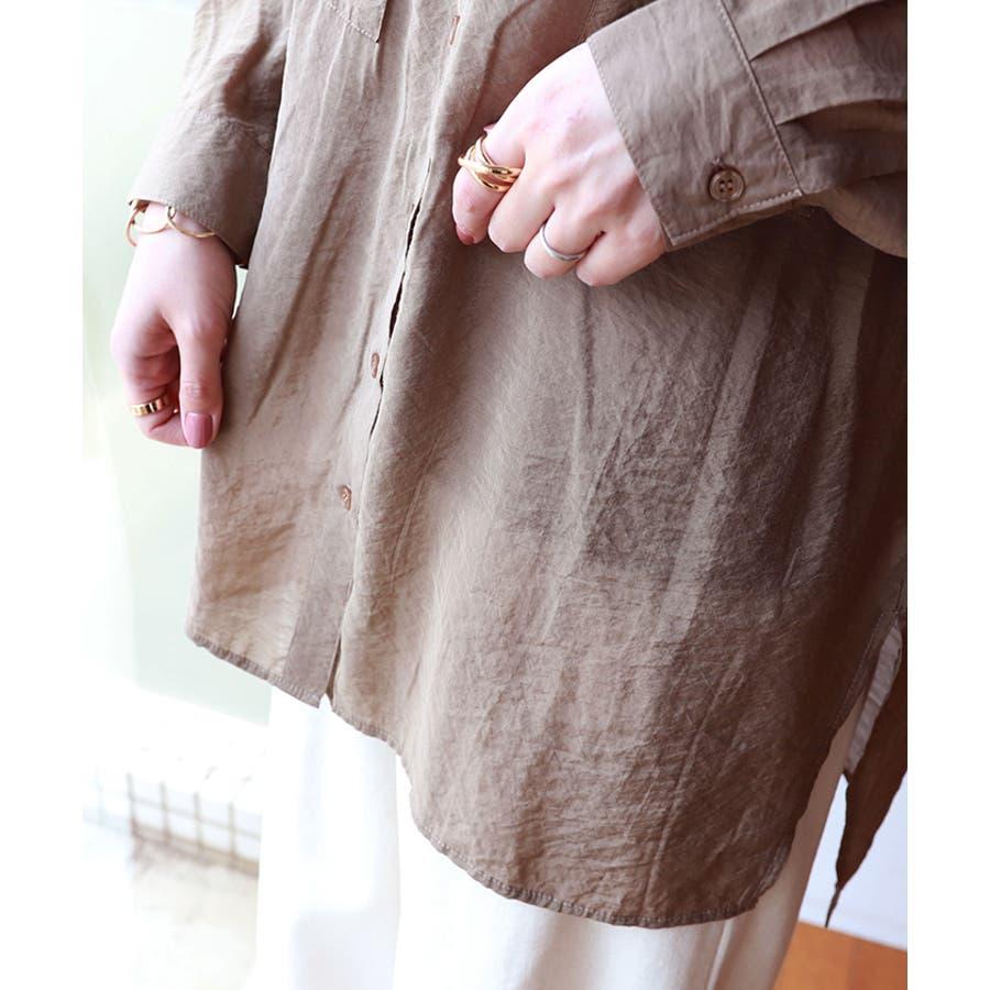 オーバーサイズ 長袖 シアーシャツ 4